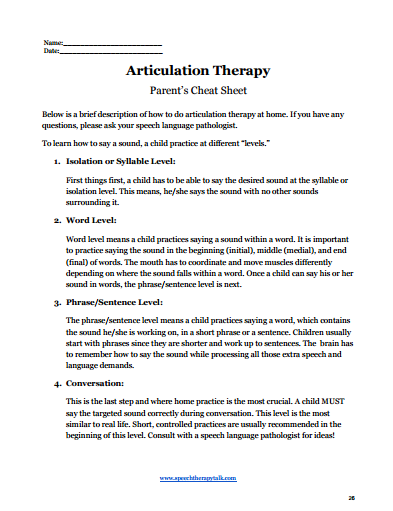 summer speech therapy articulation cues