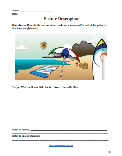 Summer Speech Therapy Articulation