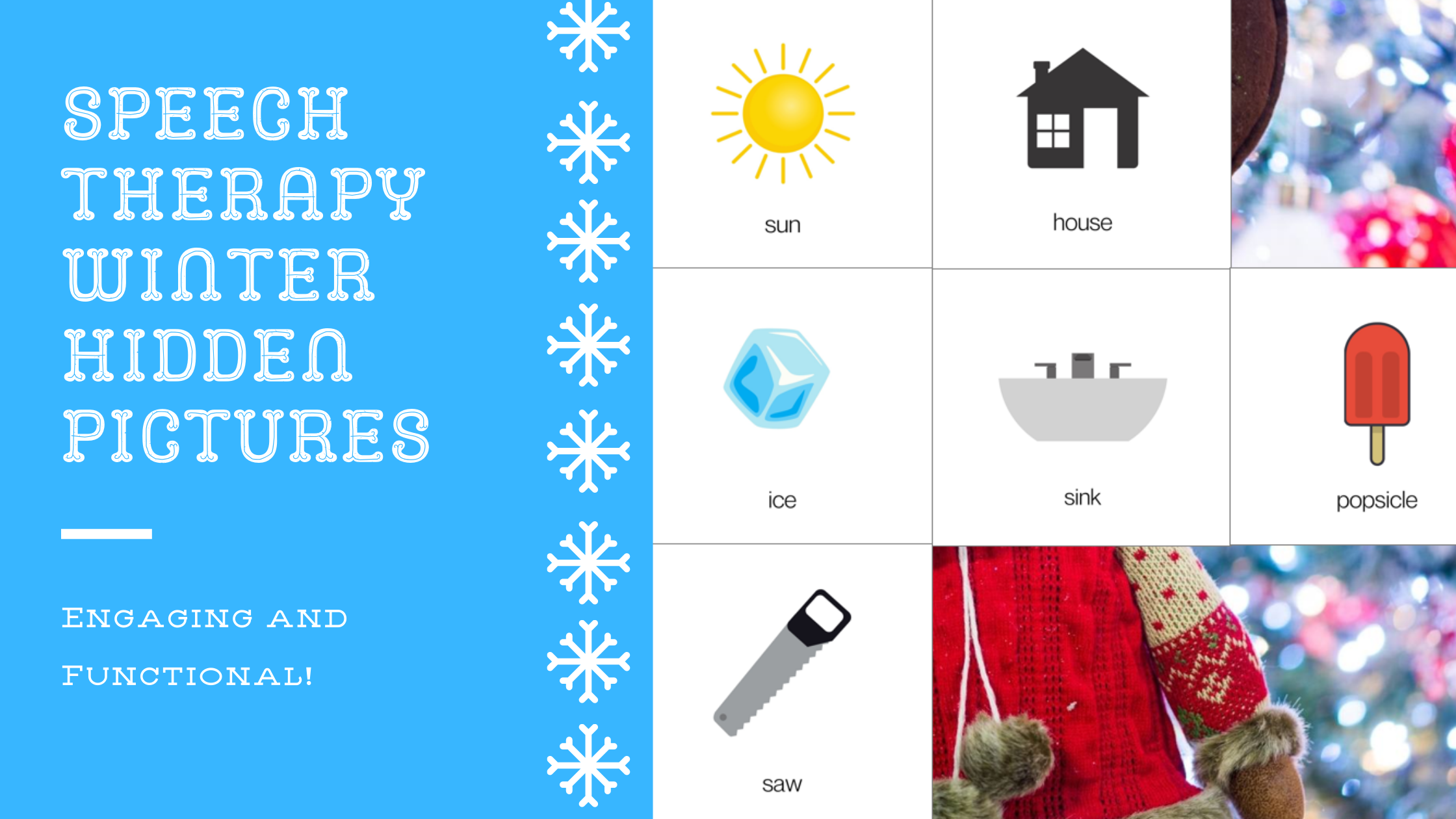 Winter Holiday Hidden Pictures For Speech Therapy
