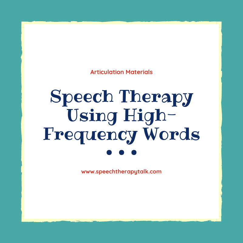high frequency speech therapy materials